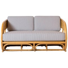 Bamboo Deco Curved Settee Upholstered in Blue and White Striped Ticking Fabric