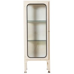 White Metal Apothecary Cabinet with Glass Shelves
