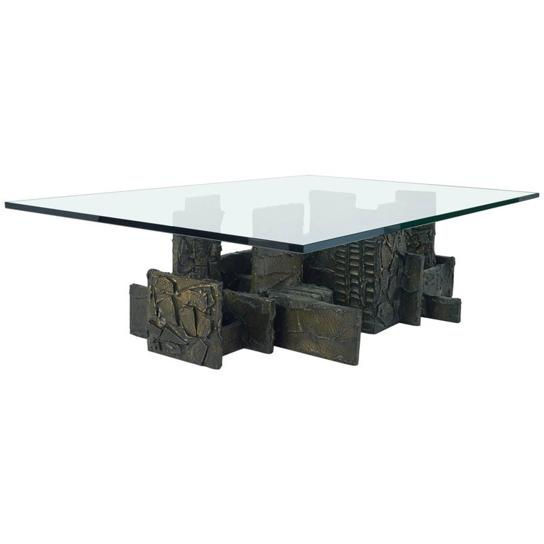 Paul Evans Monumental Sculpted Bronze And Glass Coffee Table Signed 1974 For Sale At 1stdibs