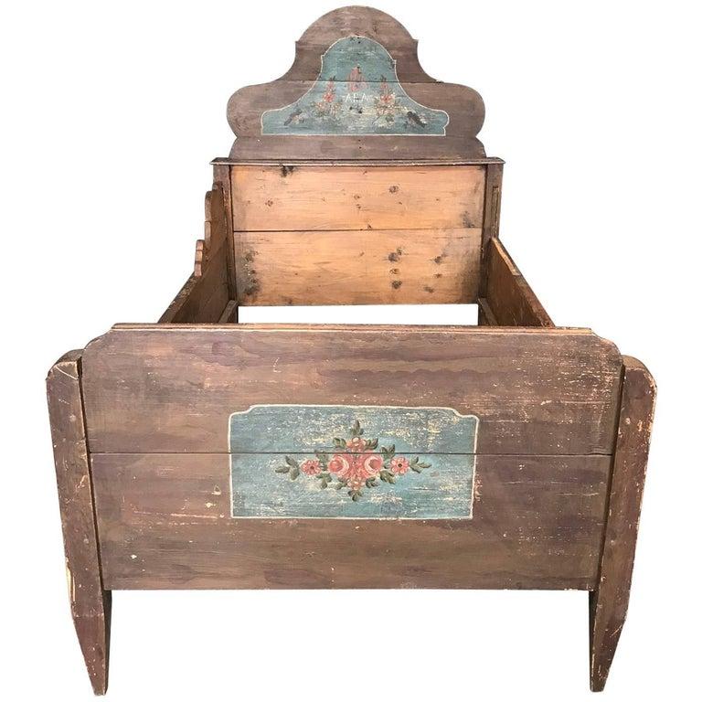 Antique European Painted Children's Bed For Sale