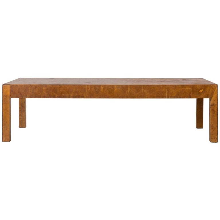 Parsons Style Italian Burled Wood Rectangular Coffee Table
