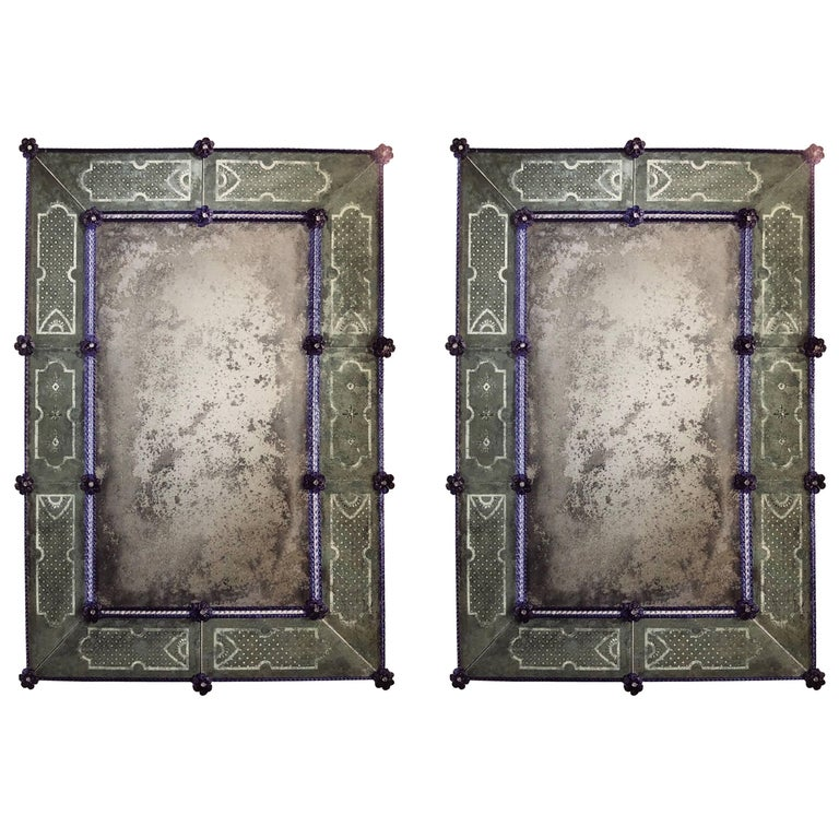 Two Italian 18th Century Style Antiqued and Etched Venetian/Murano Glass Mirrors