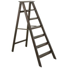 Early 20th Century Artisan Made Folding Oak Library Ladder with Iron Hinges