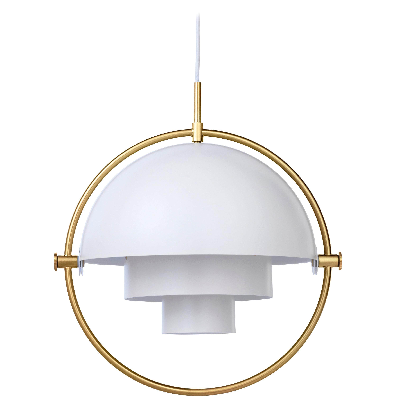 Louis Weisdorf 'Multi-Lite' Pendant Lamp in White / Brass