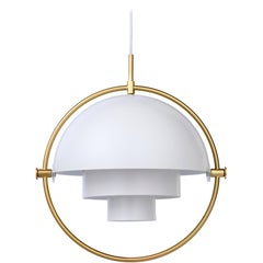 Louis Weisdorf 'Multi-Lite' Pendant Lamp in White / Brass