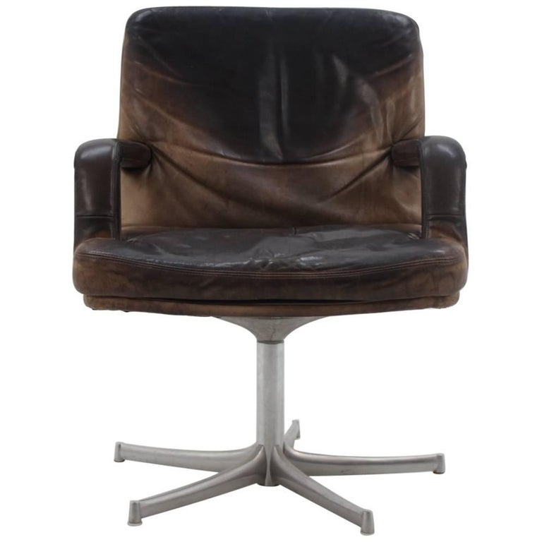 Midcentury Leather Chair Designed by Bernd Münzebrock for Walter Knoll, 1970s