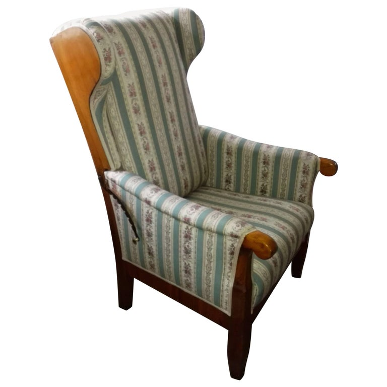 Wing Chair Walnut Solid Hand, Forget Mountings, France, 19th Century Restored