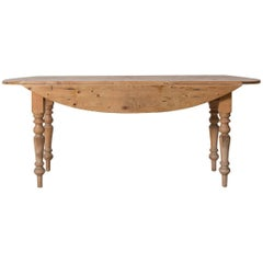 French Pine Drop-Leaf Table with Spindle Legs