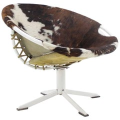 """Midcentury Cowhdie Leather """"Circle Chair"""" Designed by Lusch Erzeugnis, 1960s"""