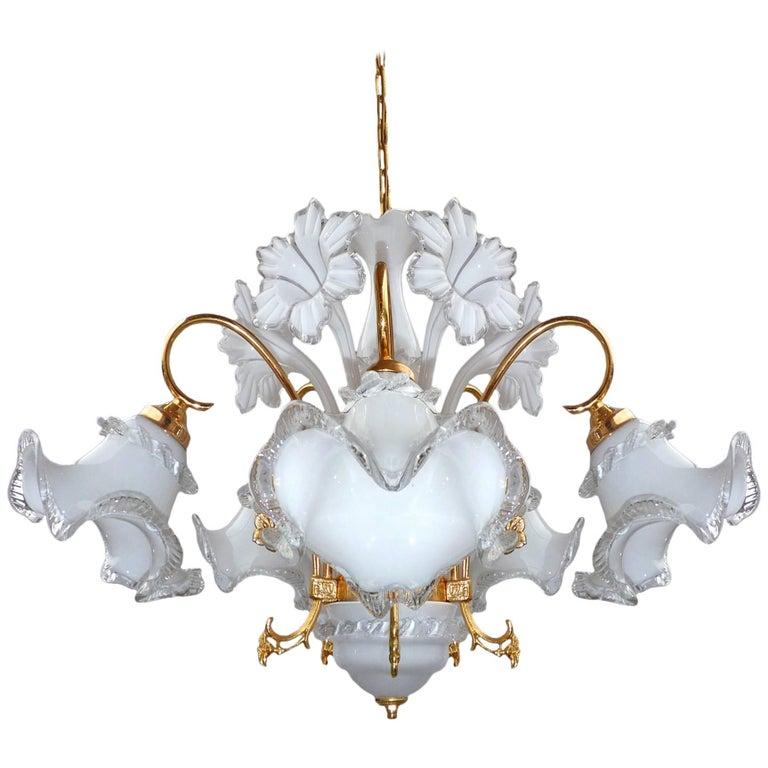 Vintage Modernist Gilt Brass Italian Murano Art Glass Flower Bouquet ...