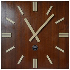 Large Midcentury Pragotron Industrial Wooden Wall Clock Type PPH 410, 1980s