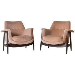 Knoll Midcentury Club Chairs Upholstered in Velvet with Exposed Mahogany Base