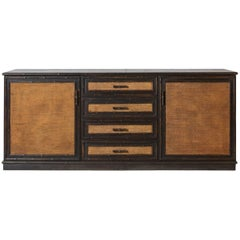 Black Painted Buffet with Bamboo Trim and Caned Details