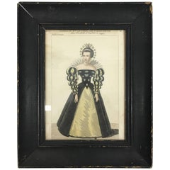 Antique Queen Elizabeth Portrait on Paper with Original Frame