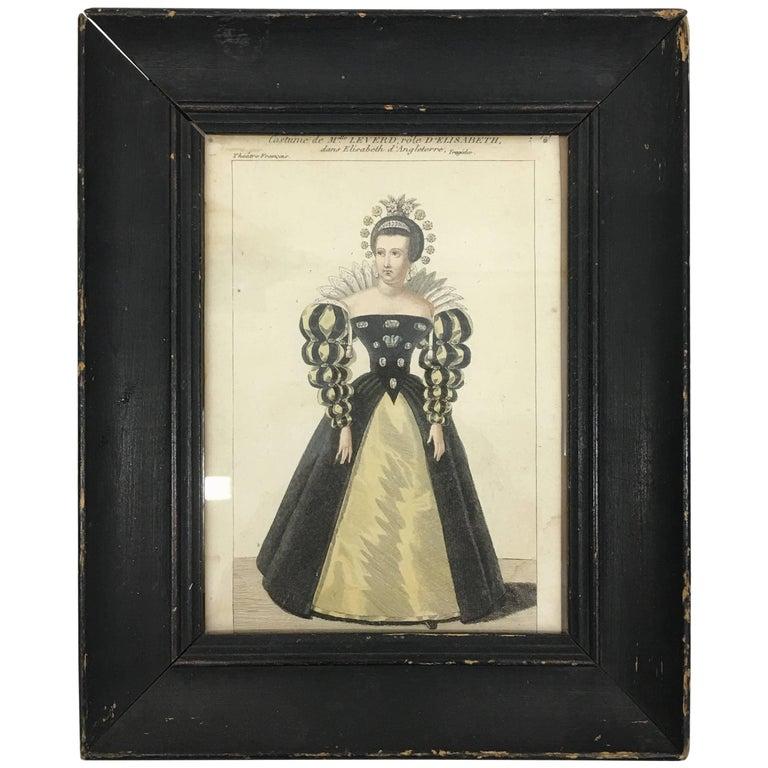 Antique Queen Elizabeth Portrait on Paper with Original Frame