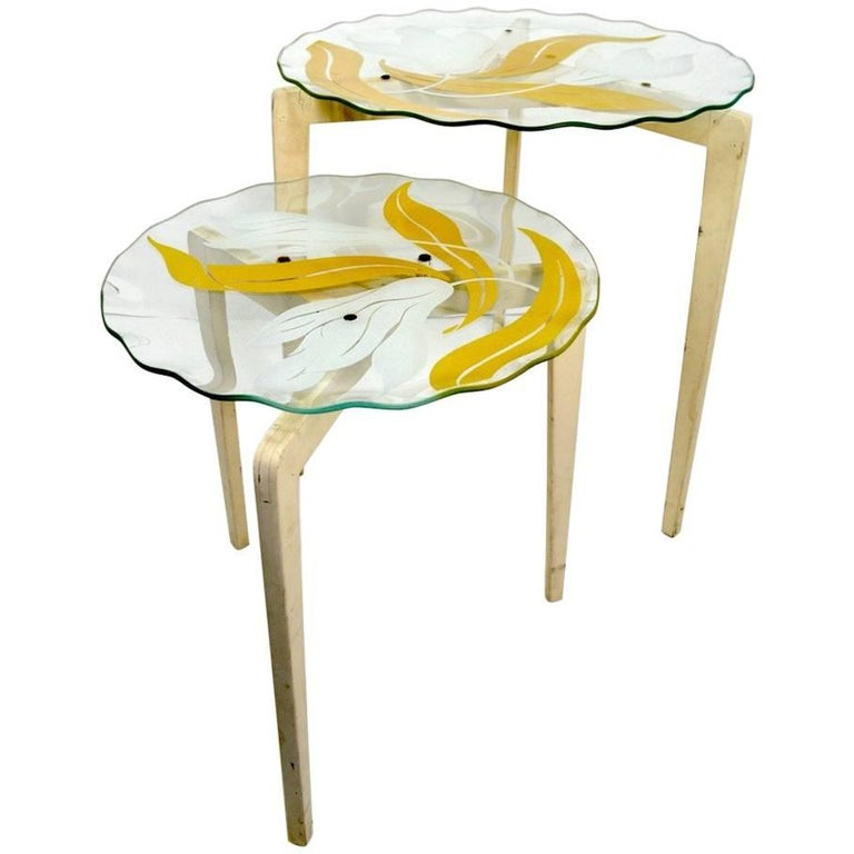 Floral Glass Top Tables For Sale