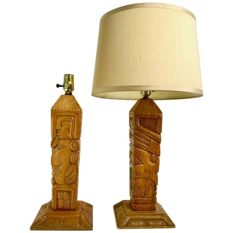 Pair of Aztec Motif Carved Wood Tiki Lamps For Sale