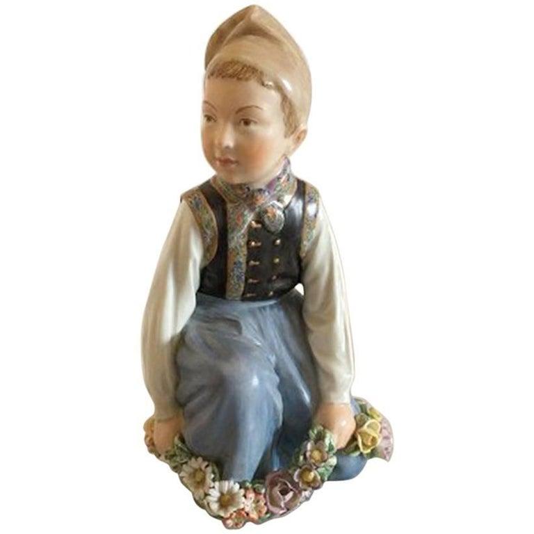 Royal Copenhagen Over-Glaze Figurine Amager Boy #12414