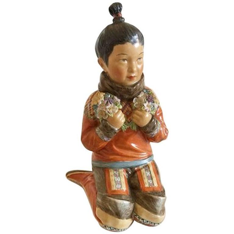 Royal Copenhagen Over-Glaze Figurine Greenland Girl #12415 For Sale