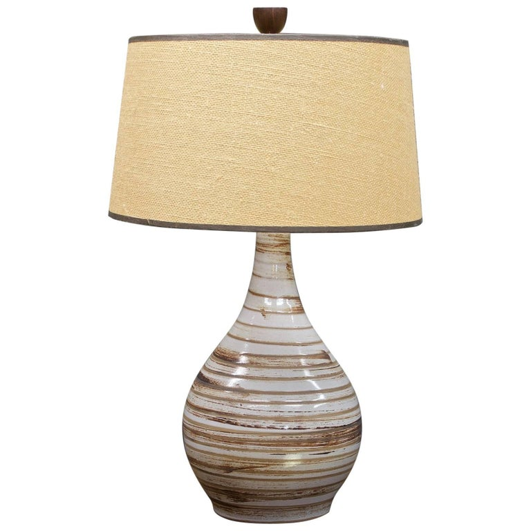 Martz Model No. 101 Swirl Glazed Teardrop Pottery Table Lamp Marshall Studios