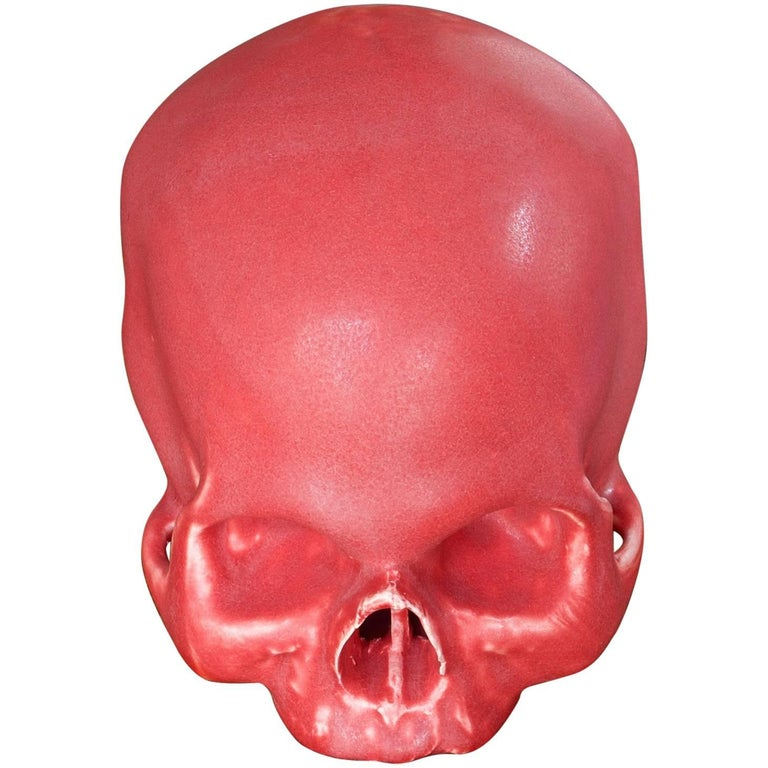 Anatomic Human Skull in Red Glazed Pottery as Art Sculpture Bookend
