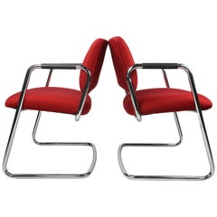 Pair of Red Steelcase Chairs
