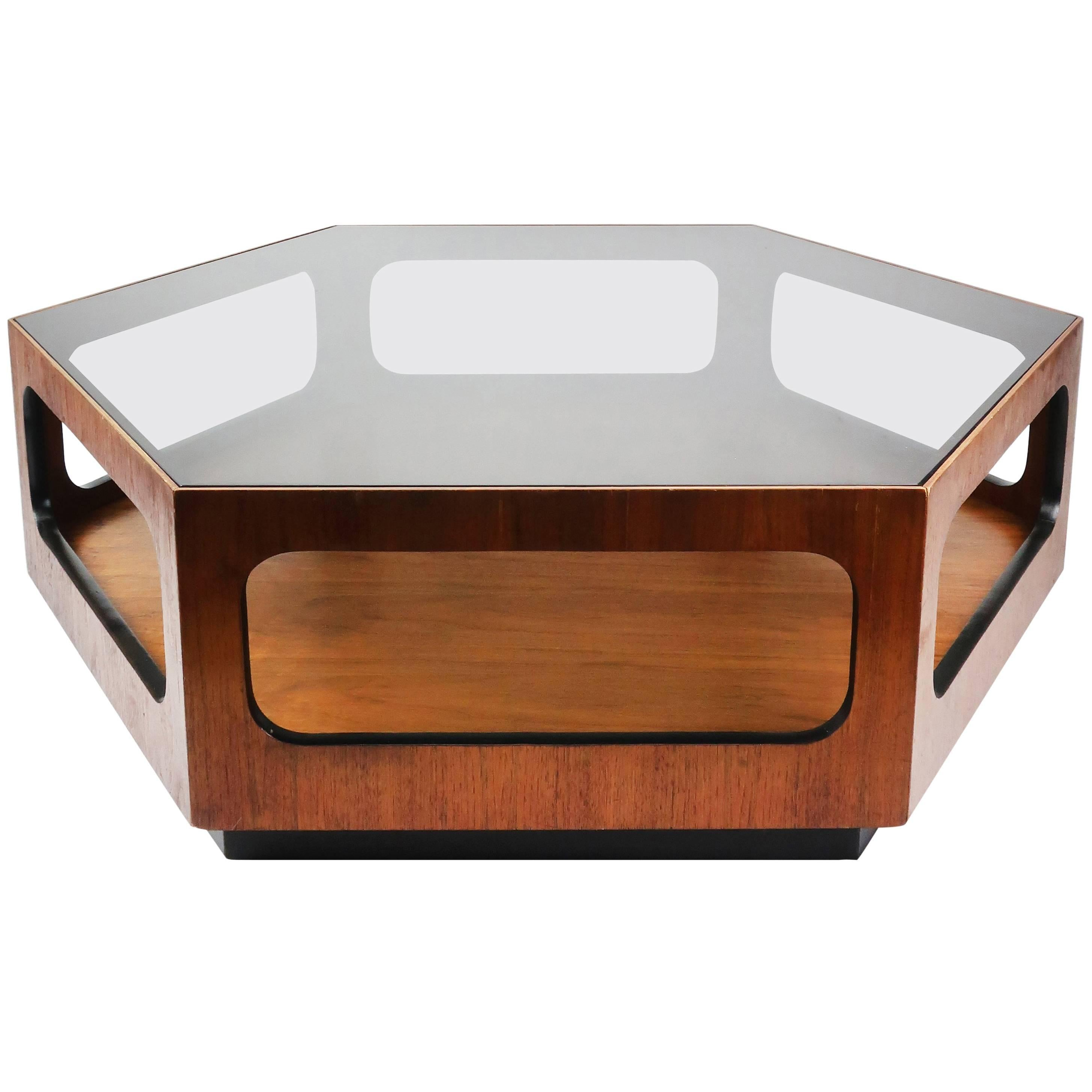 Lane Walnut And Smoked Glass Hexagonal Coffee Table For Sale