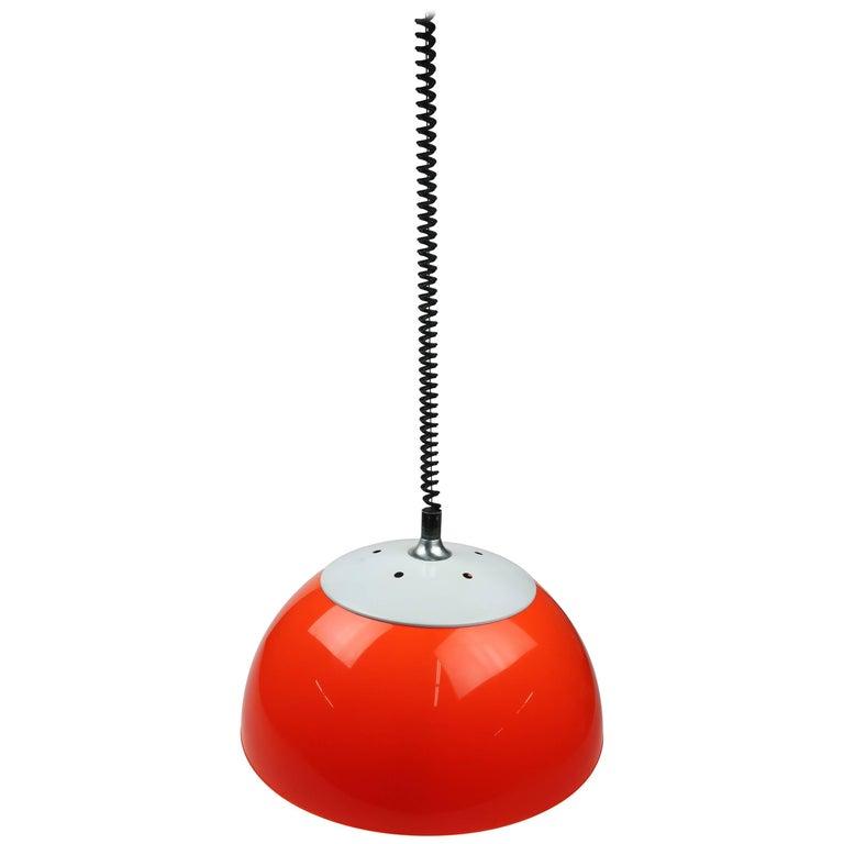 Orange Brevettato Retractable Pendant Lamp For Sale