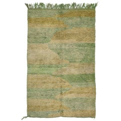 Mint Green Vintage Berber Moroccan Rug with Modern Style