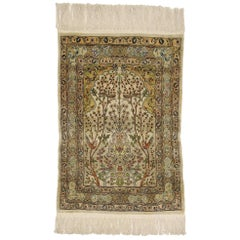 Vintage Turkish Silk Hereke Prayer Rug with Tree of Life Design