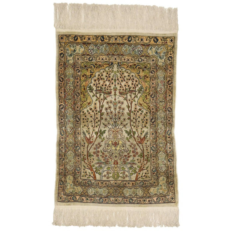 Vintage Turkish Silk Hereke Prayer Rug With Tree Of Life Design For