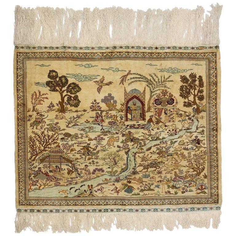 Vintage Turkish Silk Hereke Rug with Hunting Scene, Silk Tapestry Wall Hanging
