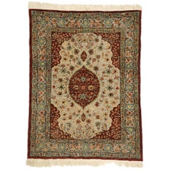 Antique Turkish Silk and Gold Hereke Tapestry with Flower of the Seven Mountains