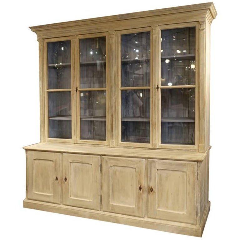 Large Antique Display Cabinet Library Tall Boy For