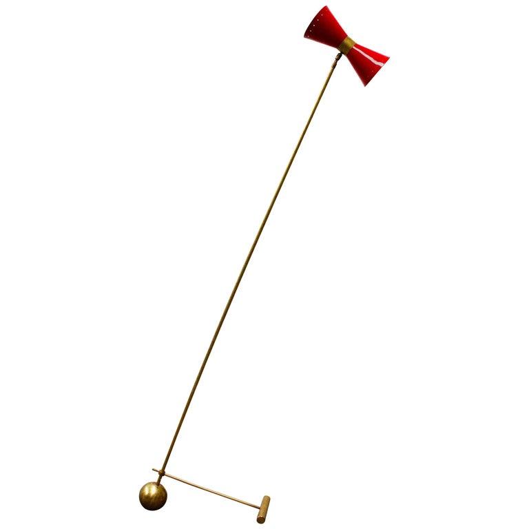 Midcentury Design Italian Brass Floor Lamp Style of 1950s Stilnovo, Gold Red