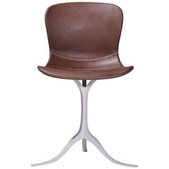 Bespoke Leather Chair with Hand-Cast Brass Base by P. Tendercool in Stock