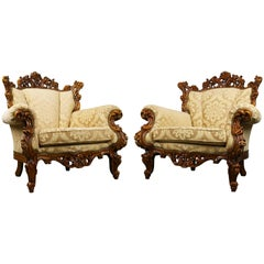 Luxurious Antique Italian Lounge Chairs in Rococo / Baroque Style Brown Beige