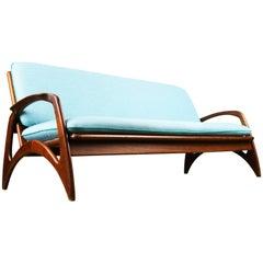 Midcentury Organic Sculpted Teak Sofa by De Ster Gelderland 1960 Dutch Blue
