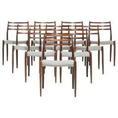 Set of Eight (8) Model 78 Rosewood Chairs by Niels O. Møller, Denmark, 1960s