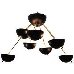 Midcentury Design Italian Sputnik Chandelier Style of 1960s Stilnovo Black Gold