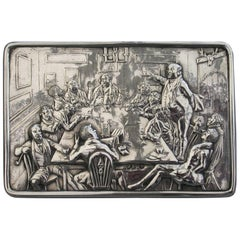 Victorian Silver Raised Relief Snuff Box 'Mr Pickwick ' by John Linnit, 1852