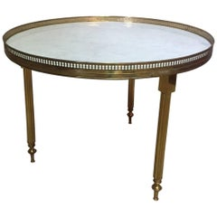 Gilded Brass and White Marble Round Table, 1950s