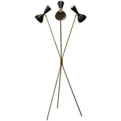 Midcentury Design Italian Minimalist Floor Lamp Style 1950s Stilnovo Brass Black