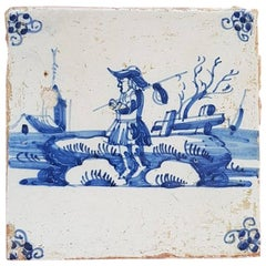 Late 18th Early-19th Century Dutch Delfts Blue Tile
