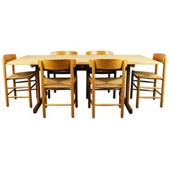 Danish Dining Room Set J39 Chairs & 6286 Table by Borge Mogensen for Fredericia