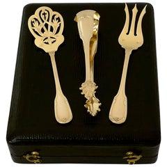Fouquet-Lapar French Sterling Silver 18 Karat Gold Dessert Hors D'oeuvre Set Box