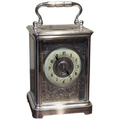 Large Silver Plated Striking Carriage Clock