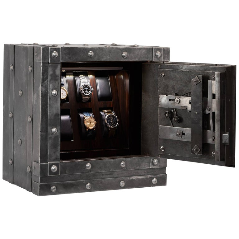 Italian 19th Century Safe with Six Macassar Watch Holders and Led Lighting