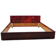 Aldo Tura Red Goatskin Double Bed, 1970s