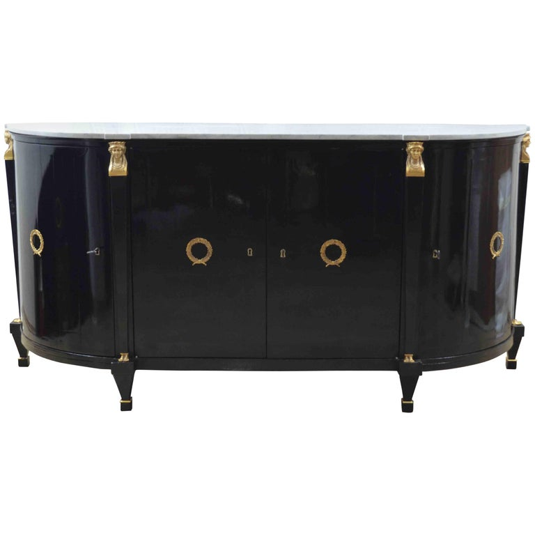 19th Century Black Ebonized Empire Round Corners White Marble-Top Sideboard